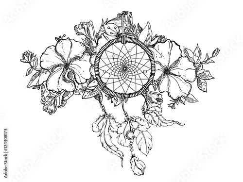 Black and white hand drawn floral ornament with petunia flower and black and white hand drawn floral ornament with petunia flower and dream catcher sketch mightylinksfo