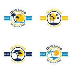 Travel and tour agency vector logo design. Beach, Sea, City, Temple, MountainHorizon
