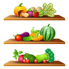 Illustration of different kinds of fruits and vegetable in the wooden shelves