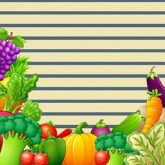 Paper design background with vegetables and fruits illustration