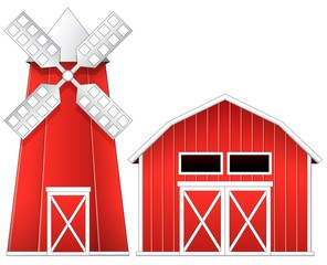 Windmill and barn illustration