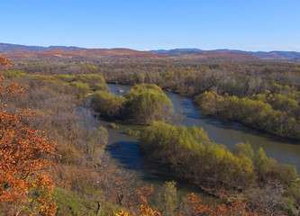 View of the valley river Ussuri