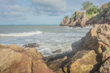 The beautiful seaside rocks at Kung Wiman,  Chanthaburi,  Thailand.