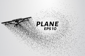 The plane of the particles. The plane of agricultural equipment until. Plane breaks down into molecules. Vector illustration