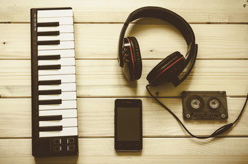 Music items shot in flat lay style. View from above