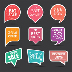 Set of commercial sale stickers, elements badges and labels