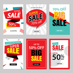 Set of sale website banner templates.Social media banners