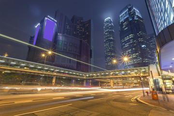 Night, city building in Hong Kong