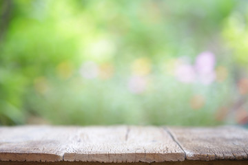 Outdoor Wooden table at outside