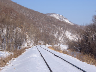 Railway track at a mountain slope