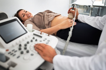 Pregnant woman undergoing ultrasound test