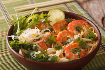 Malaysian laksa soup with shrimps, noodles and herbs close up in a bowl. horizontal