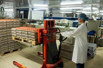 Female staff loading carton of eggs on pallet jack