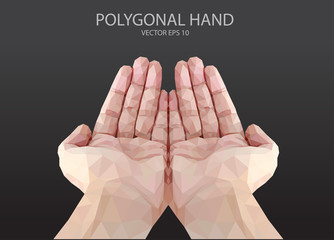 polygon hand fingers sign vector