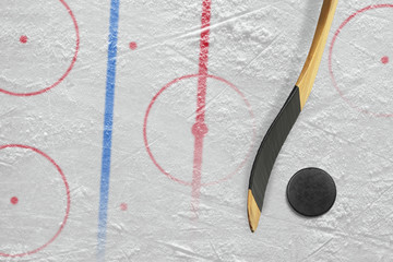 Stick, puck and hockey field with markings