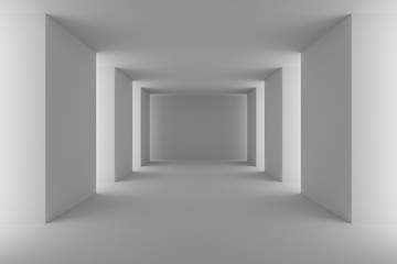 Empty white hall with white columns