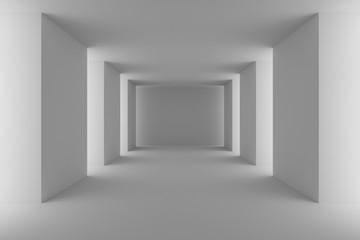 Empty white hall with white columns