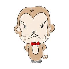 猿のイラスト:怖そうなおじさん
