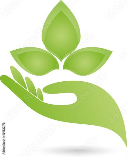 Hand Blätter Heilpraktiker Logo Stockfotos Und