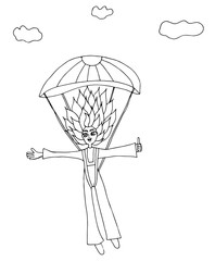 A girl jumps with a parachute on a background clouds
