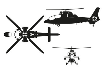 Silhouette of helicopter. The helicopter in three views: top vie