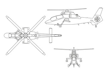 Outline drawing of helicopter. The helicopter in three views: to