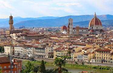 panorama of the city of Florence in Italy from Michelangelo Squa
