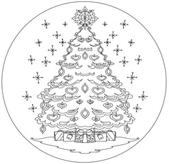 Christmas tree coloring mandala vector