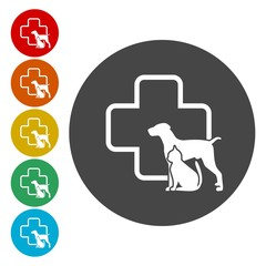 Dog and cat silhouette circle veterinarian pet clinic icon, vector illustration