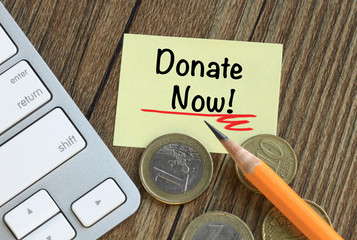 concept of donate now