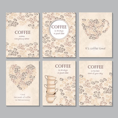Set of six vector vertical cards with coffee beans and quotes
