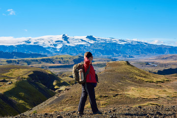 woman hiker on the trail, hiking in Iceland