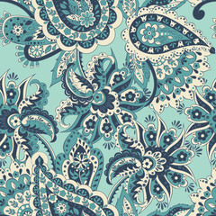seamless pattern with flowers in indian style. floral vector background