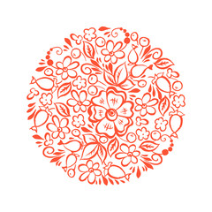 floral ornament shaped in circle. vector illustration