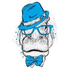 Funny Hippo in glasses and a hat. Vector illustration for a card or poster. Print on clothes. Fashion & Style.