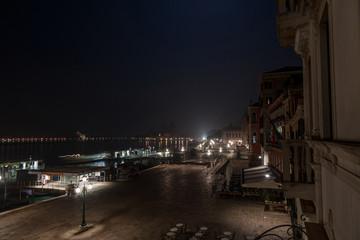 Beautiful dark night in Venice near the Laguna Veneta with city