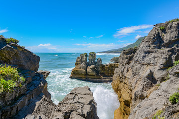 panoramic view of famous pancake rocks, new zealand
