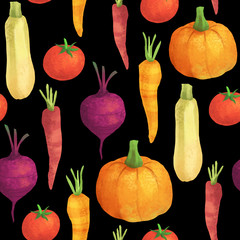 Cute seamless vegetable pattern on black background. Organic food autumn set with pumpkin, carrot, squash, tomato and beetroot.