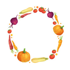 Cute vegetable round wreath on white isolated background. Organic food autumn set with pumpkin, carrot, squash, tomato and beetroot.