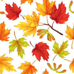 Raster seamless pattern with maple leaves. Autumn textile design in watercolor style. Template on white isolated background.