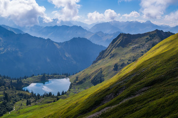Lake Seealpsee in the Allgau Alps above of Oberstdorf, Germany.
