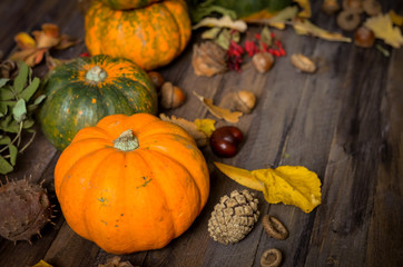 Decorative pumpkins on a wooden background