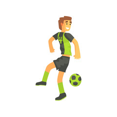 Football Player Flanking Isolated Illustration