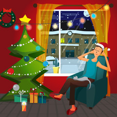 Christmas room interior. Christmas tree, gift and decoration. A