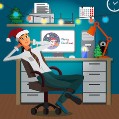 Businessman sitting in the office in the evening on Christmas Ev
