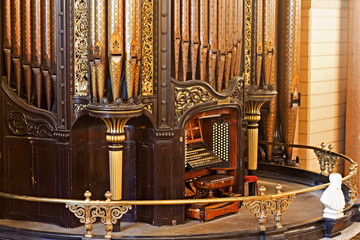 LIVERPOOL 25TH JANUARY 2016 The organ inside St Georges Hall. The organ was built by Henry Willis and completed in 1855