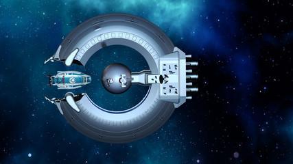 Andockmanöver eines Raumschiffs an die Raumstation