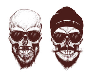 Two modern skull with sunglasses