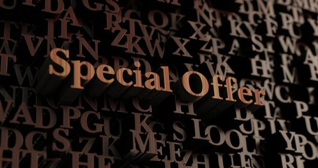 Special Offer - Wooden 3D rendered letters/message.  Can be used for an online banner ad or a print postcard.