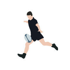 Rugby player kick ball, vector illustration. Running man with ba